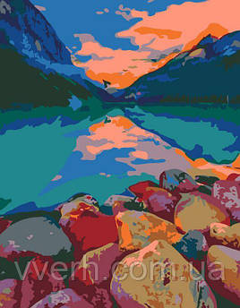 "Картина по номерам. Rosa ""Озеро Луиза, Канада"" 35х45см Бесплатная Доставка Justin"