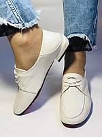 Стильные женские белые туфли-мокасины . Натуральная лакированная  кожа. 37.39.40 Vellena, фото 5