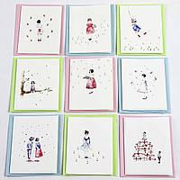 Дизайнерская мини открытка с конвертом 414-16 (0109), МИКС расцветок, 90*70мм. Продажа кратно 18 шт!