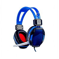 Игровые проводные наушники с микрофоном SY833MV Pro Soyto HIFI СИНИЕ