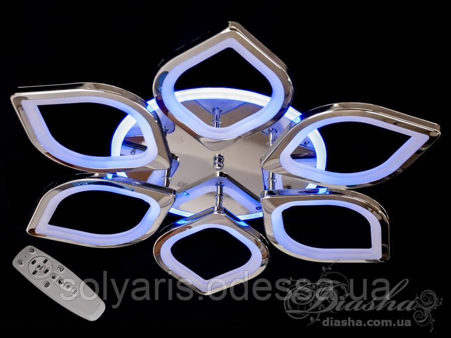 LED-люстра с диммером и цветной подсветкой, цвет хром, 115W 8073/6HR LED 3color dimmer
