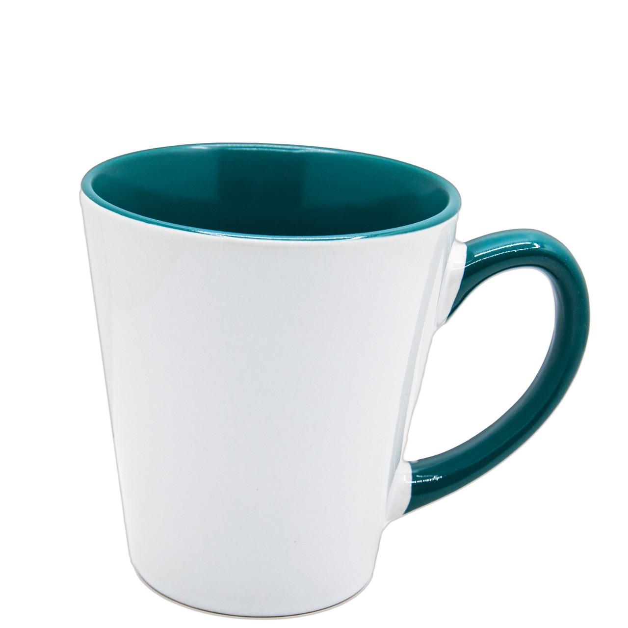 Чашка для сублимации цветная внутри и ручка Latte 350 мл (зеленый)