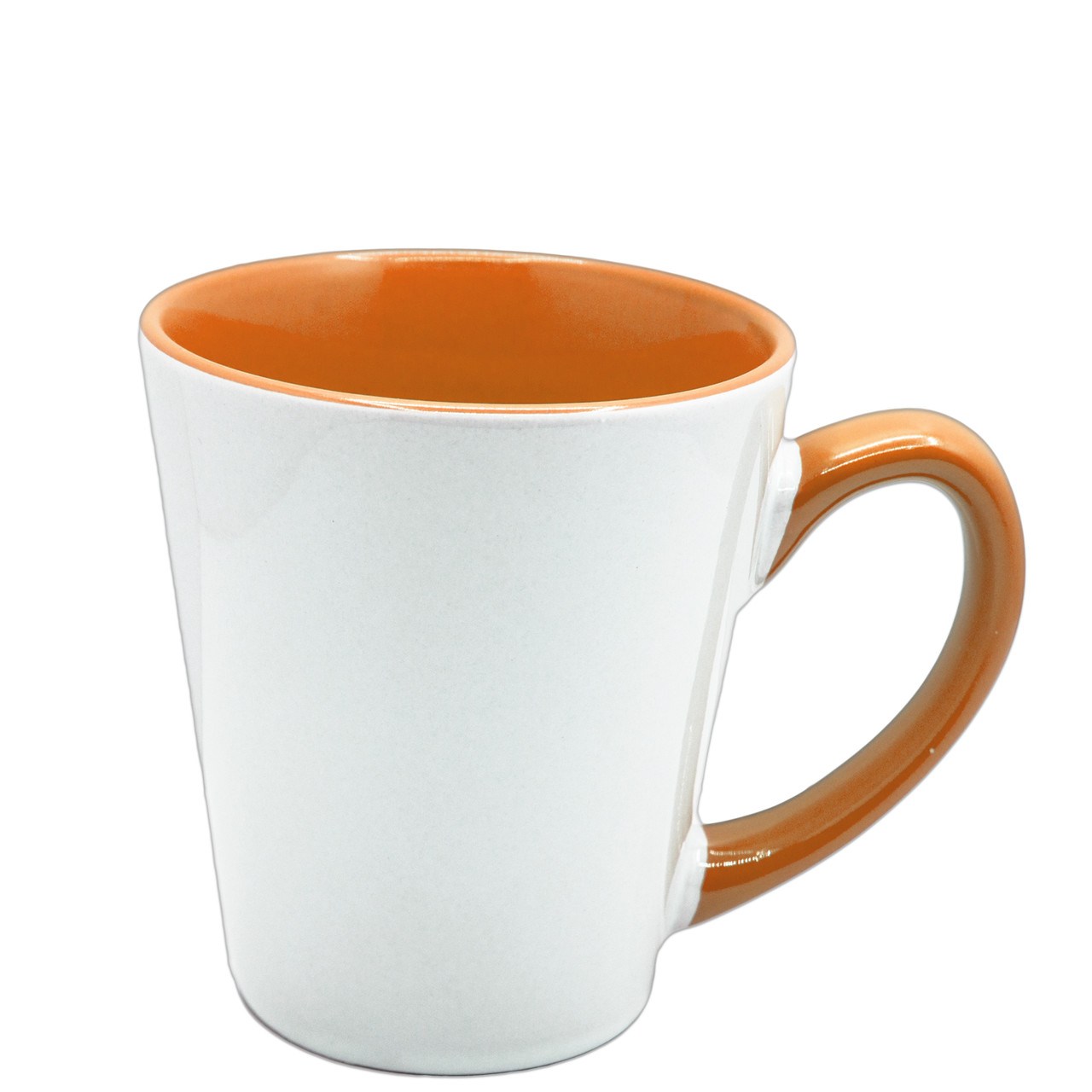 Чашка для сублимации цветная внутри и ручка Latte 350 мл (оранжевый)