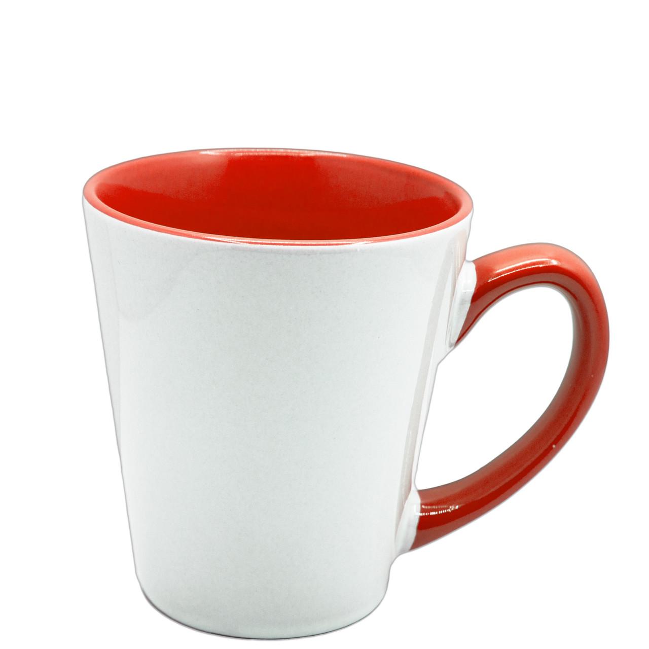 Чашка для сублимации цветная внутри и ручка Latte 350 мл (красный)