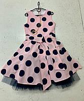 """Нежное нарядное платье в горох """"Алиса"""" 146"""
