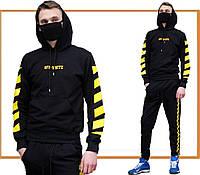 Мужской спортивный костюм Off White (офф вайт, черный / желтый) худи и штаны