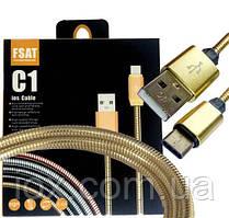 """USB кабель 2.4A C1 Type-C """"Fast"""" в металлической оплетке"""