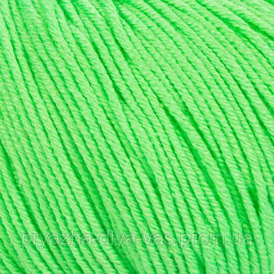 Летняя пряжа (60% хлопок, 40% акрил; 50г/ 165м) Gazzal Baby Cotton 3427 (салатовый неон)