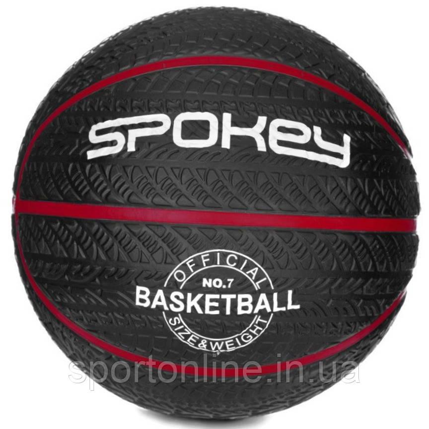 Баскетбольный мяч Spokey MAGIC графит размер №7, черный с красной полоской