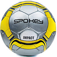 Футбольный мяч Spokey Impact размер №5, серебряный с желтым рисунком
