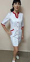 Жіночий медичний коттоновый халат Веселка три чверті рукав, фото 1