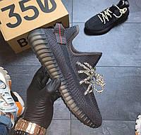 Yeezy Boost 350 v2 Black Non Reflective | кроссовки женские и мужские; летние; черные шнурки рефлектив; адидас