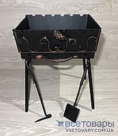 Мангал кованный раскладной чемодан (кочерга и совок), на 6 шампуров, фото 1