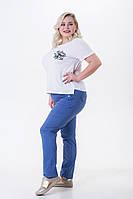 Летние брюки женские из легкого стрейч-коттона Кнопки джинс (50-56), фото 1