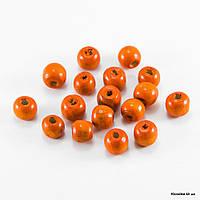 Бусины Деревянные, Окрашенные, Круглые, 10 мм, Цвет: Оранжевый (140шт/50г)