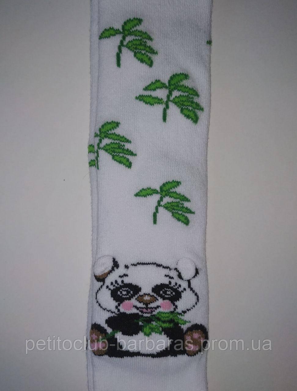 Детские хлопковые колготы с объемным 3D рисунком Панда белые (DeMelatti, Турция)