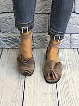 Замшевые босоножки мокко 1 см каблук, кожа или замша пошив с рюшечкой размеры 36-41, фото 2