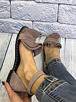 Замшевые босоножки мокко 1 см каблук, кожа или замша пошив с рюшечкой размеры 36-41, фото 3