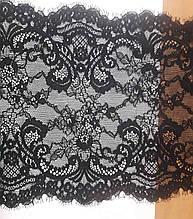 Кружево стрейчевое для нижнего белья, ширина 22см, цвет черный (Италия)