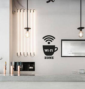 Текстова наклейка на стіну WI-FI Zone (вініловий стікер чашка, значки зона інтернет, вай-фай зона)