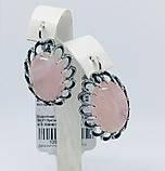 Серебряные серьги с розовым кварцем Жозефина, фото 2