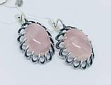 Серебряные серьги с розовым кварцем Жозефина, фото 3