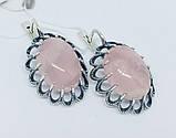 Серебряные серьги с розовым кварцем Жозефина, фото 4
