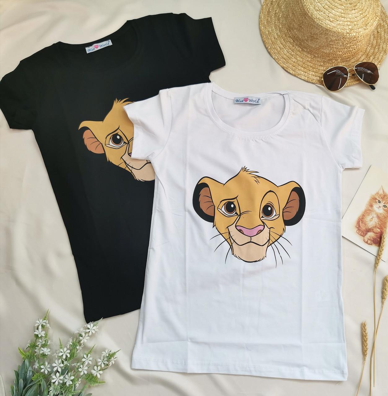 Біла жіноча футболка принт король лев