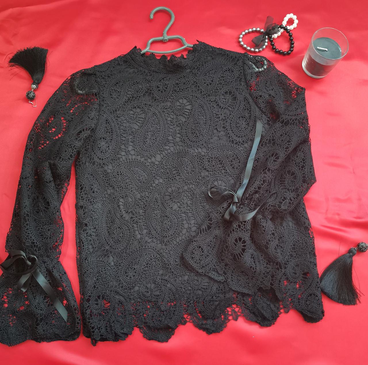 Кружевная черная женская блуза