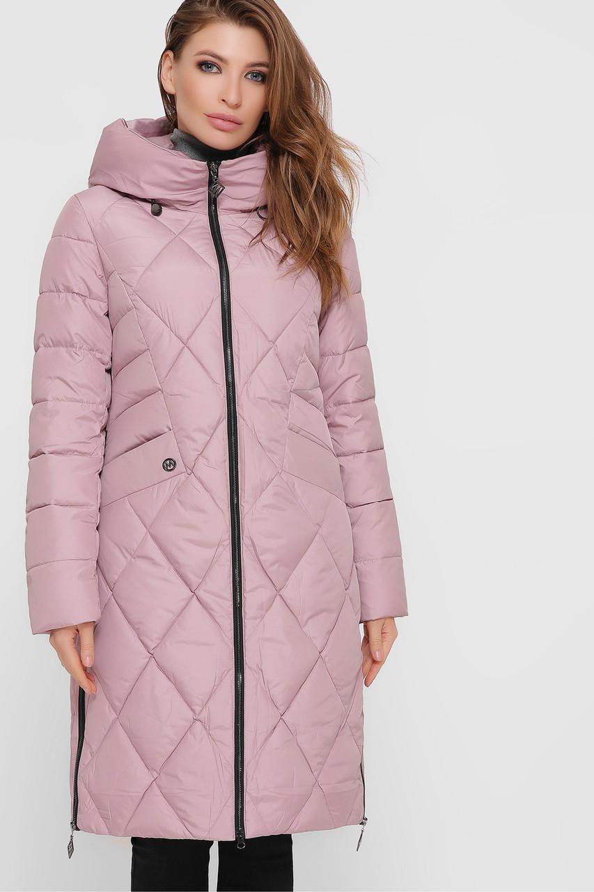 Длинная ОЧЕНЬ ТЕПЛАЯ И УДОБНАЯ куртка зимняя розовая на биопухе, размер 42-50
