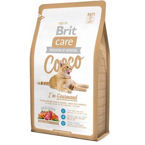 Brit Care COCCO Gourmand Гипоаллергенный корм для кошек с уткой и лососем / 7 кг