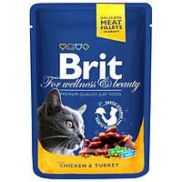 Brit Premium Cat (пауч) Шматочки в соусі з КУРКОЮ та ІНДИЧКОЮ для кішок / 100 гр