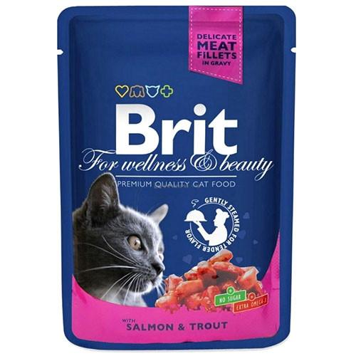 Brit Premium Cat (пауч) Кусочки в соусе с ЛОСОСЕМ и ФОРЕЛЬЮ для кошек / 100 гр