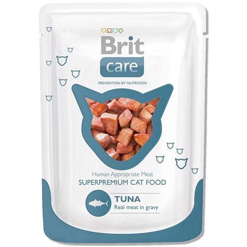 Brit Care Cat (пауч) Шматочки в соусі з ТУНЦЕМ для кішок / 80 гр