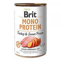 Brit Mono Protein Turkey & Sweet Potato Консервы для собак с индейкой и бататом / 400 гр