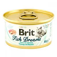 Brit Fish Dreams Tuna & Salmon Консервы для кошек с тунцом и лососем / 80 гр