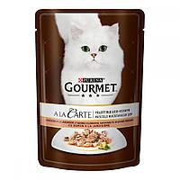 Gourmet A La Carte Кусочки с лососем, шпинатом, кабачками и зелеными бобами в подливе / 85 гр