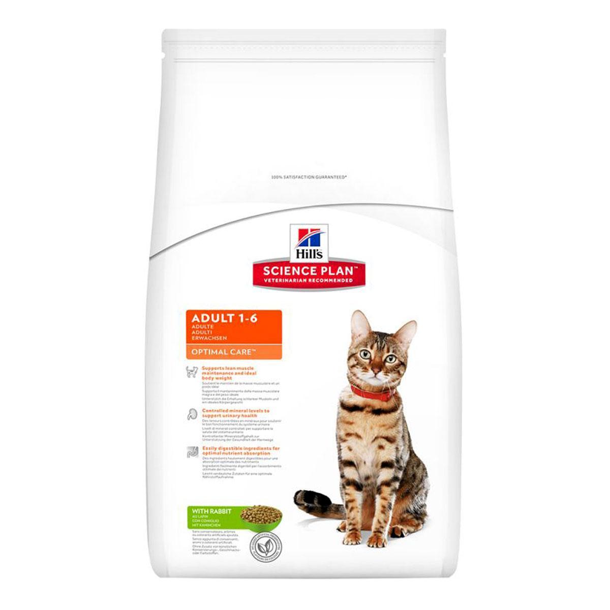 Hills Science Plan Feline Adult Optimal Care Rabbit Сухий корм для кішок з кроликом / 10 кг