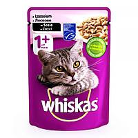 Whiskas 100 гр консерва для кошек с лососем в соусе / 100 гр