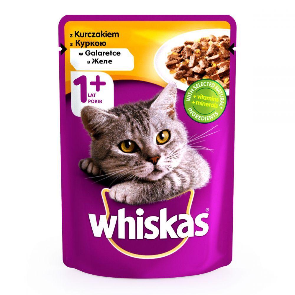 Whiskas 100 гр консерва для котів з куркою в желе / 100 гр