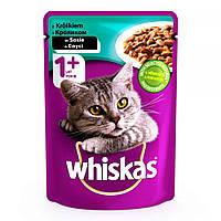 Whiskas 100 гр консерва для кошек с кроликом в соусе / 100 гр