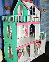 Большой деревянный домик для кукол Барби+мебель! Дом 1 метр в высоту!