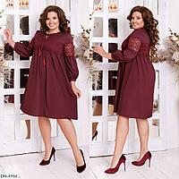 Платье свободного кроя с декоративными шнурками и вставкой из качественного гипюра размеры 48-56 арт 201