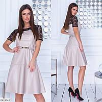 """Сукня жіноча з еко-шкіри з коротким рукав арт.v 299 (р. M-3XL) """"REMISE STORE"""" недорого від прямого постачальника, фото 1"""