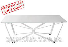 Стіл журнальний LUTON R 125*70*44 см скло білий глянець Nicolas (безкоштовна доставка)