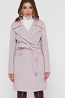 Пудровое  женское демисезонное пальто   с поясом  на кнопках ПМ-123, фото 1