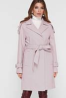Женское пальто с поясом пудрового цвета ПМ-129, фото 1