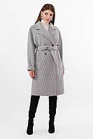 Женское двубортное пальто серого цвета ПМ-135, фото 1