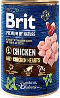 Мясной паштет курица с куриным сердцем для собак Brit Premium by Nature 400 грамм