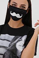 GLEM  Маска  черная текстильная с усами №6-П